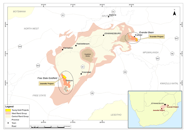 Location of Taung's principal gold assets